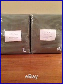 Set Of Two Pottery Barn Blackout Silk Dupioni Dark Celdon Green Drapes 50 X 96