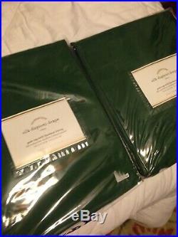 Set Of Two Pottery Barn Blackout Silk Dupioni Emerald Green Drapes 50 X 84