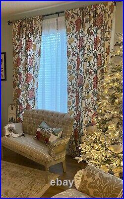 Set of 2 Pottery BarnCynthia Palampore Linen/Cotton Curtain/Panels 50 x 108