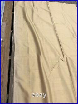 Set of 2 Pottery Barn Gold Tan 100% Dupioni Silk Long Curtains 50x96
