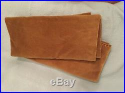 Set of 2 Pottery Barn Pole or Hook Curtain Drape Wheat Velvet Panels 48x106