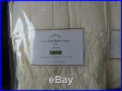Set of 2 Pottery Barn Smocked Sheer Curtain Panel 42 x 84 Ivory NEW