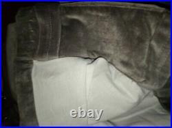 Set of 2 Pottery Barn Velvet Twill Drape Curtain Panels 50x96, Flagstone Gray