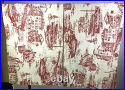 Set of 2 Pottery Barn Window Valance Fishing Village Toile Curtains 50 x 23