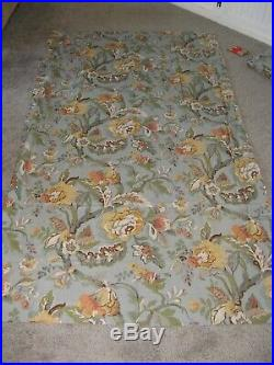 Six (6) Pottery Barn Lined Heavy Panel Curtains Floral Pattern on Light Blue