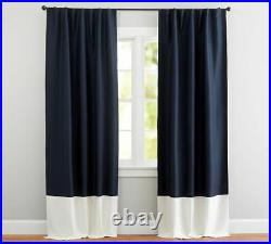 TWO New Pottery Barn Linen Silk Navy White Border Curtains Blackout Drapes 96