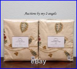 TWO Pottery Barn MARGARITTE Palampore Embroidered Drapes Curtains 50x108 MULTI