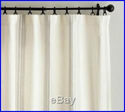 TWO Pottery Barn Riviera Stripe Sandalwood blackout drape panel curtains 50x82
