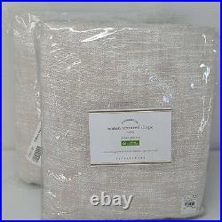 TWO Pottery Barn Seaton Textured Cotton Rod Pocket Curtain Drapes Neutral 50x96