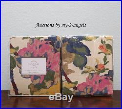 TWO RARE Pottery Barn CHARLOTTE Floral Drapes Curtains Panels 50x96 NEW COLORFUL