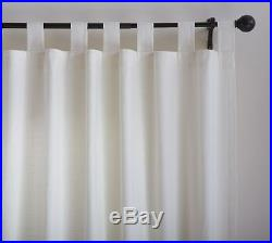 Two Pottery Barn Ivory Textured Cotton Curtain Drapes Tab Top 96L NEW Off White